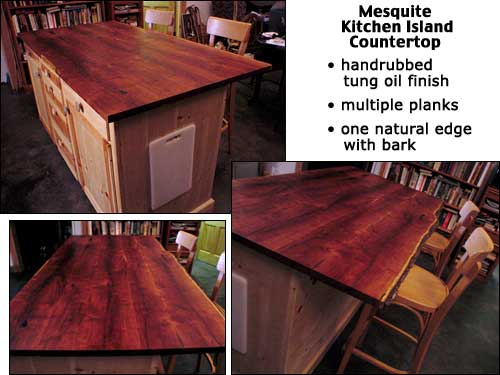 handcrafted mesquite kitchen island countertop constructed by cabinet maker with mesquite slabs from haynes cedar company - Kitchen Island Countertop