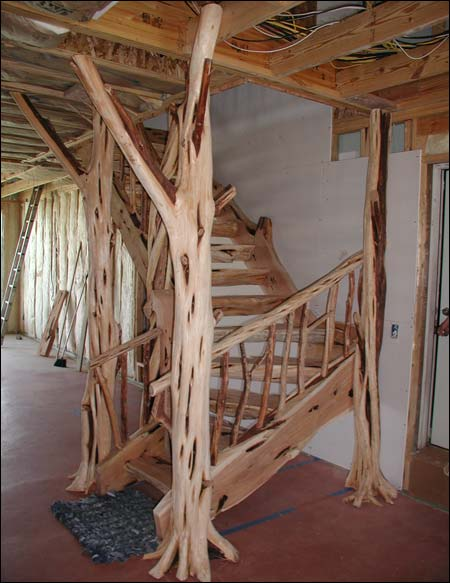 Staircase made with Mountain Cedar Posts and slabs by Mueller Sawmill, Stacy Mueller