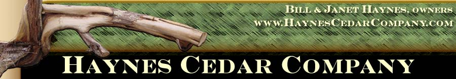 cedar poles, posts, mantles, and more from Haynes Cedar Company