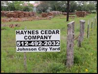 Haynes Cedar in Johnson City Texas - Call 512-492-2032 or 830-868-2037